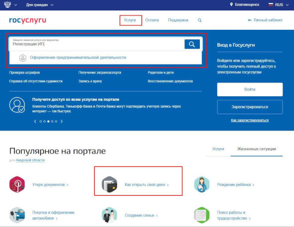 Регистрация ип через госуслуги онлайн программа для составления декларации 3 ндфл за 2019
