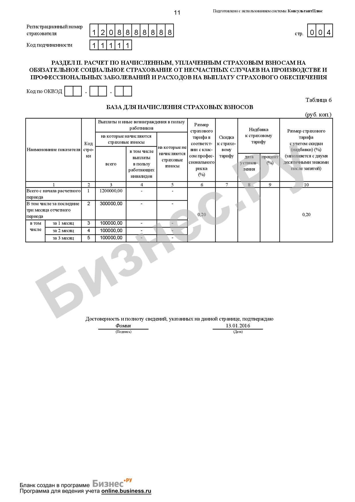 образец заполнения формы 4-фсс за 1 квартал 2014 года